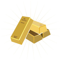 bar of gold on a white background