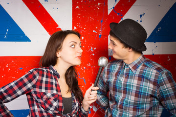 Two performers doing a British comedy show
