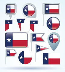 Flag set of Texas, vector illustration