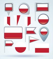Flag set of Poland, vector illustration