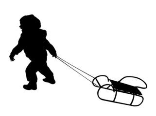child pulling sledge silhouette - vector