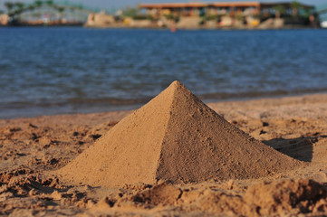 a pyramid of sand