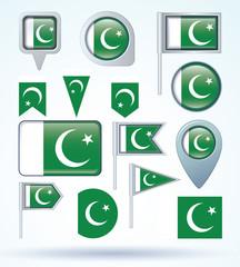 Flag set of Pakistan, vector illustration