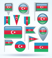 Flag set of Azerbaijan, vector illustration