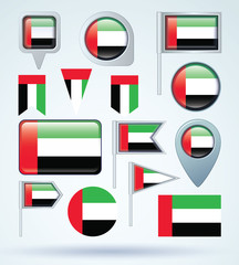 Flag set of United Arab Emirates, vector illustration