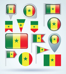Flag set of Senegal, vector illustration