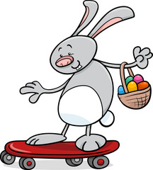 easter bunny on skateboard cartoon