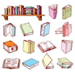 Book doodle set, illustration vector.