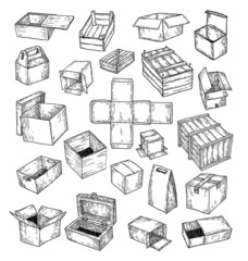 boxes collection, doodles set. vector illustration.