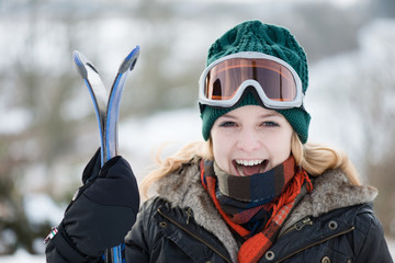 Young woman On Ski Vacation