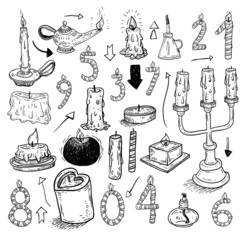 collection of candles,  drawn vector illustration.