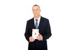 Elegant business man with red ace card
