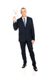 Full length elegant business man with red ace card