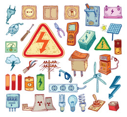 Electricity Doodle icon collection, vector illustration.