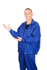 Smiling repairman showing copy space