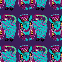 ethnic seamless pattern fabric with unusual tribal animal