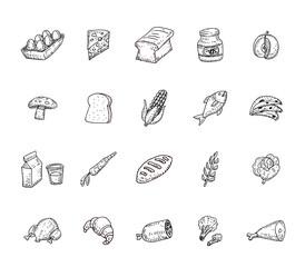 Food icons set, vector illustration.