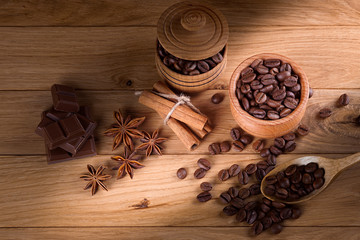Coffee in a pot on a wooden background