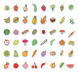 Food icons set, vector illustration.