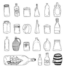 Bottle set doodle, vector illustration