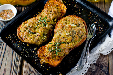 Pumpkin stuffed with couscous, zucchini and cheese Dorblu