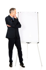 Male executive thinking about presentation