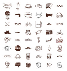 Hipster doodle set, hand drawn illustration.