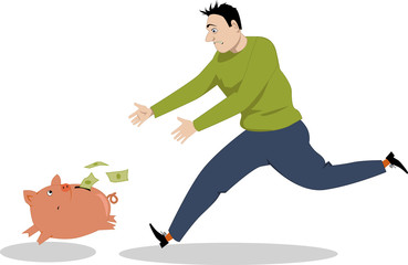 Man chasing a piggy bank