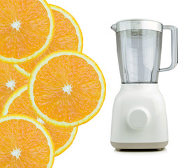 Slice of fresh orange and Blender or Table top food grinder