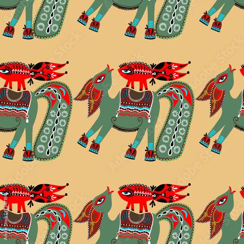 Staande foto Kunstmatig ethnic seamless pattern fabric with unusual tribal animal