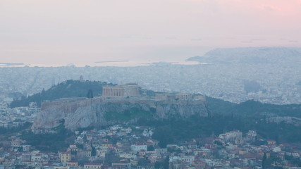 Time lapse of Acropolis and Athens city, Greece