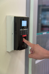 People use finger scanning on  machine
