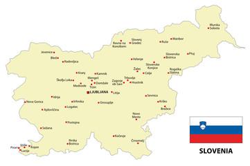 slovenia map with flag