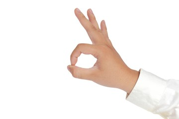 OK Sign Hand Gesture Isolated on White