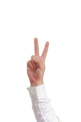 Number Two Hand Gesture Isolated on White