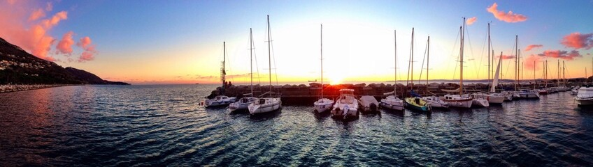 Magical sunset at the harbor