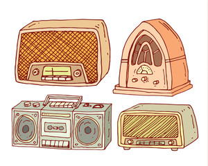 Vintage radio set, vector illustration