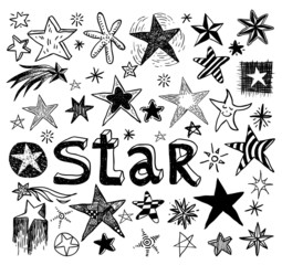 Star Doodles, hand drawn vector illustration.