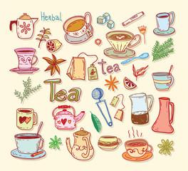 Tea doodle sketch elements.Hand drawn vector illustration