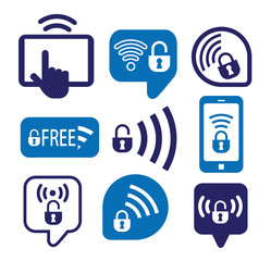 Set of wireless icons, vector illustration