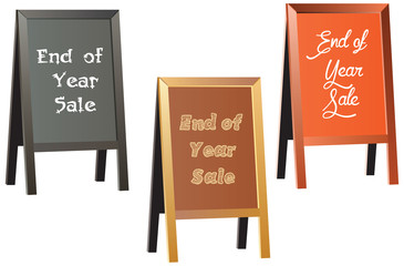 End of year sale vector sign on traditional wood framed chalkboa