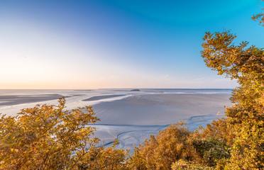 Trees and sea view in Mont Saint Michel, Normandy, France