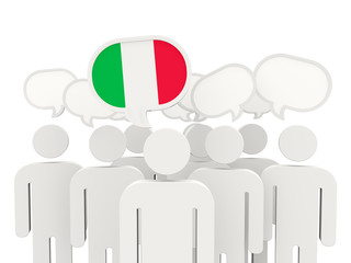 People with flag of italy