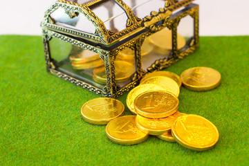 Gold Coins Chocolat on green Grass.