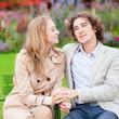 Romantic couple in a Parisian park