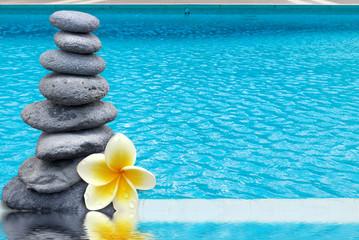 galets et frangipanier au bord piscine à débordement