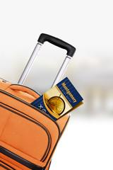 Montgomery. Orange suitcase with guidebook.