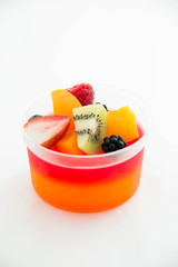 Strawberry jelly with fresh fruit