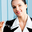 Happy smiling businesswoman at office