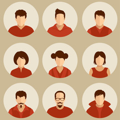 set of flat avatar, vector people icon,